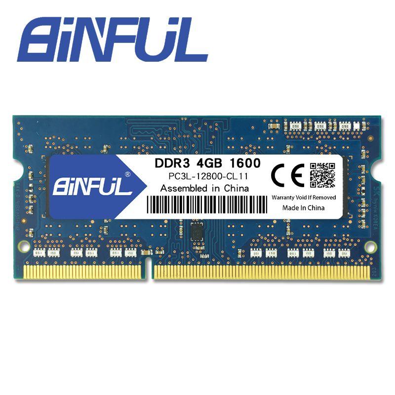 Binful D'origine Nouvelle Marque DDR3L 4 GB 1600 MHz PC3-12800s 1.35 V basse tension CL11 SODIMM 204pin Mémoire Ram Pour ordinateur portable Portable