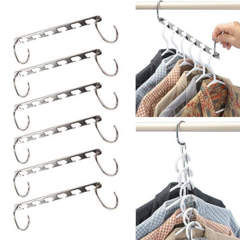 6 Pcs/Set Shirts Clothes Hangers Holders Save Space Non-slip Clothing Organizer <font><b>Practical</b></font> Racks Hangers for Clothes Dropshipping