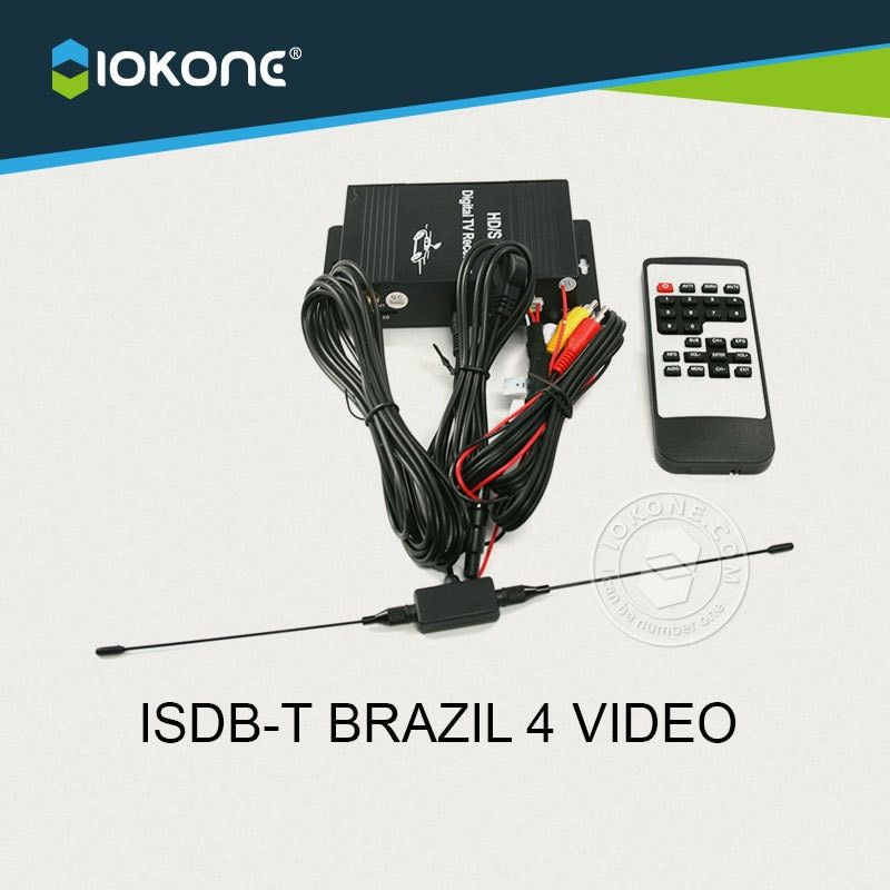New Arrival !! Car ISDB-T for BRAZIL Chile Argentina Peru 4 VIDEO single TUNNER digital TV receiver box set top box with antenna