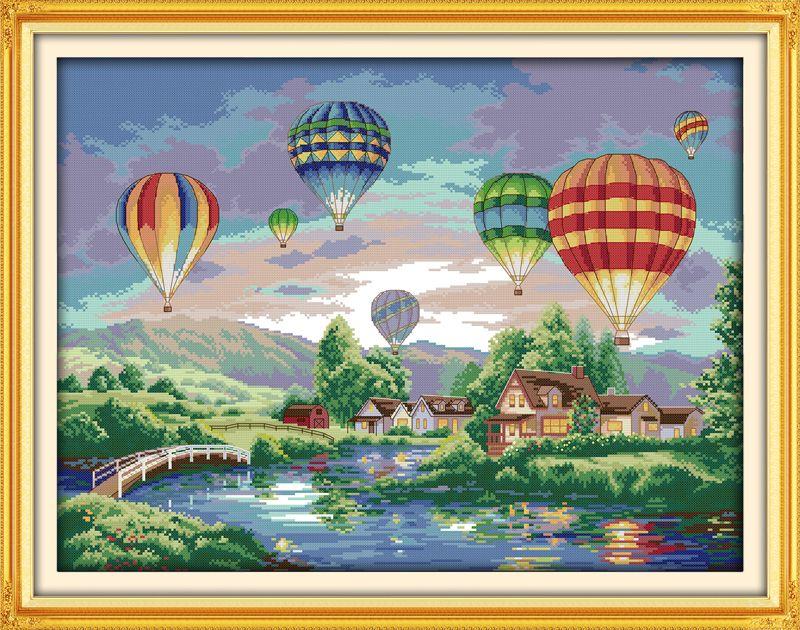 Ballons colorés couture à la main travaux manuels kit de point de croix pour broderie décor à la maison paysage point de croix modèles gratuits