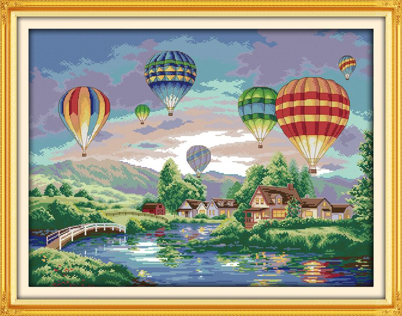 Ballons colorés couture à la main travaux manuels point de croix Set Kits pour broderie décor à la maison paysage point de croix modèles gratuits