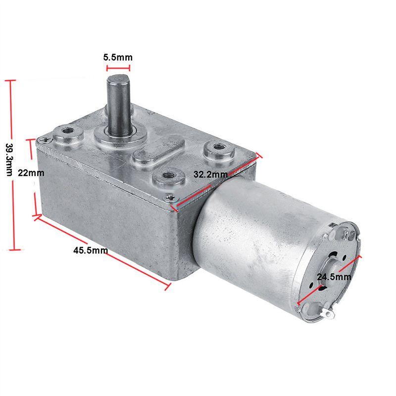 Moteur à engrenages DC 12 V à vis sans fin réversible à couple élevé moteur à engrenages Turbo 2-100 tr/min Mayitr Mini réducteur de boîte de vitesses électrique