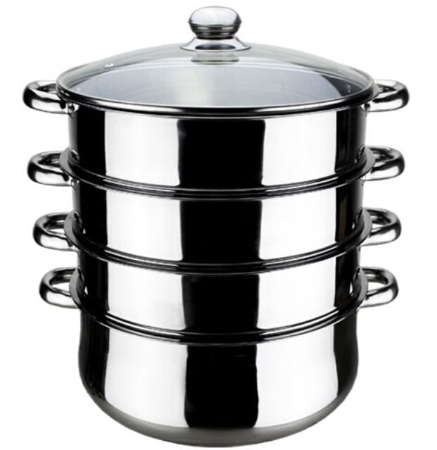 FREE SHIPPING 30CM 4 LAYER STEAMER POT INOX MULTI-FUNCTION COOKING POT DOUBLE BOILERS CASSEROLE POT STEAMING TRAY
