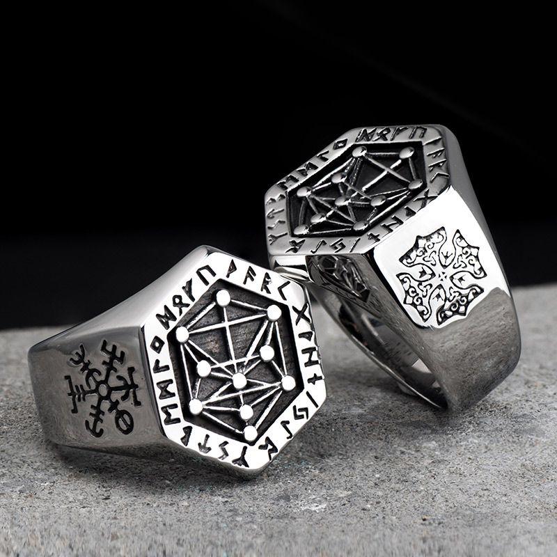 Mythologie nordique Viking rune anneaux en acier inoxydable pour homme et femme Kabala totem Index anneau bijoux de mode