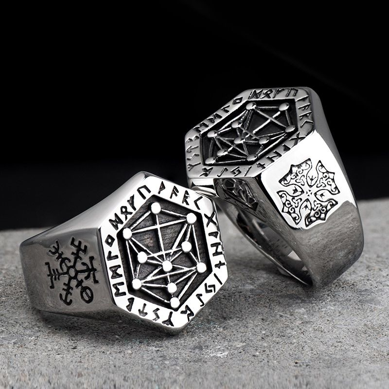 Nordic mythology Viking rune stainless steel rings for man and women Kabala totem Index Ring fashion jewelry mygrillz