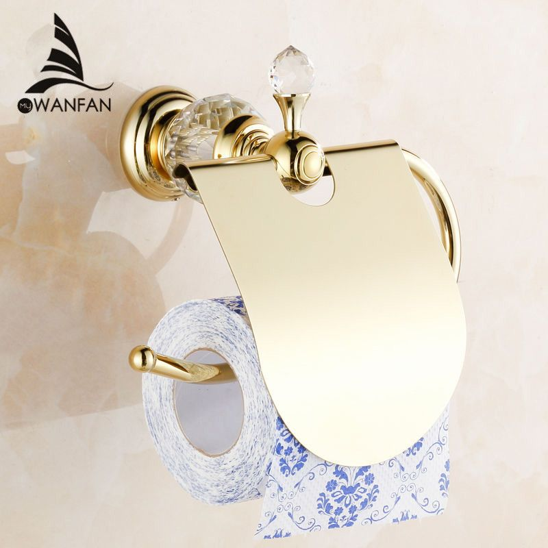 Paper Holders Crystal Solid Brass Gold Paper Roll Holder Toilet Paper Holder Tissue Holder Restroom <font><b>Bathroom</b></font> Accessories HK-40
