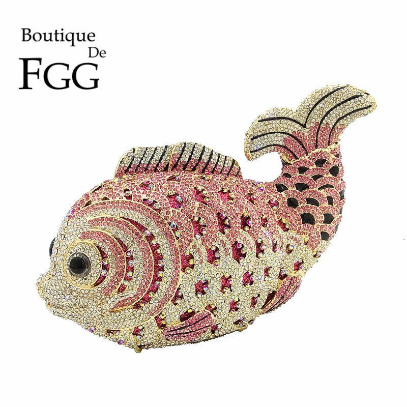 Boutique De FGG Multi Rosa Kristall Diamant Frauen Fisch Abend-handtasche Braut Mini Metall Handtasche und Geldbörse Hochzeits Kupplungen
