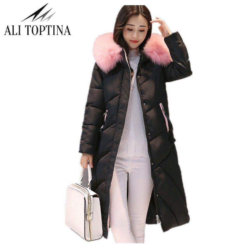Али toptina зимние пальто обувь для женщин 2017 г. зимние Мужские парки Для женщин длинный хлопок высокое качество теплые женские утепленная верх...