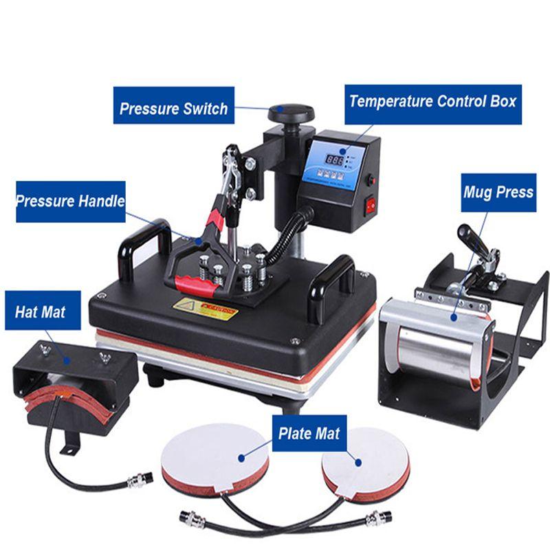 30*38 cm 5 in 1 Combo Wärme Drücken Drucker Maschine 2D Sublimation Vakuum Wärme Drücken Drucker für T-shirts kappe Becher Platten