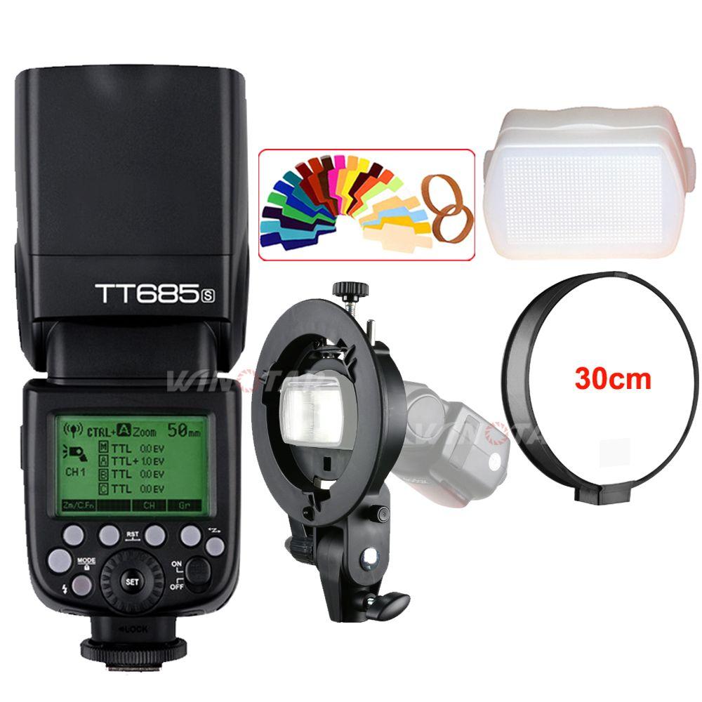 Godox TT685 TT685S 2.4G HSS 1/8000s TTL Camera Flash + Bowens S-Type Bracket for Sony A77II A7RII A7R A99 A58 A6500 A6000 A6300