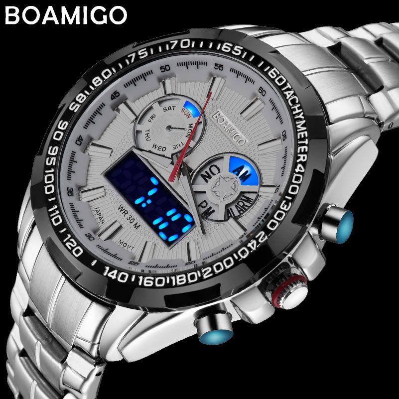 BOAMIGO top marque de luxe hommes sport montres militaire mode d'affaires en acier numérique quartz montre cadeau horloge relogio masculino