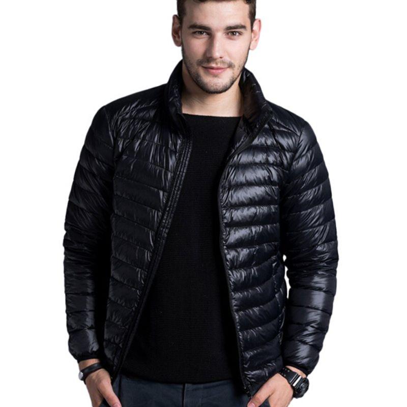 Men casual warm Jackets solid thin breathable Winter Jacket Mens outwear Coat Lightweight parka Plus size XXXL hombre jaqueta