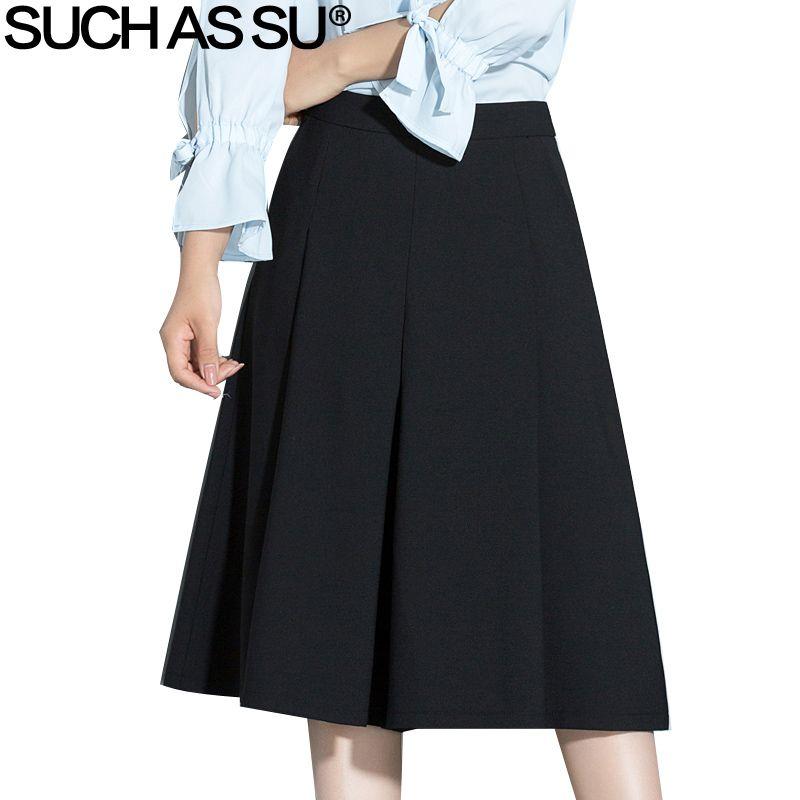 TELS que SU 2017 D'été De Mode Taille Haute Jambe Large Pantalon Genou Longueur Casual Noir Brun Plissée Pantalon Taille S-3XL pantalon Femmes