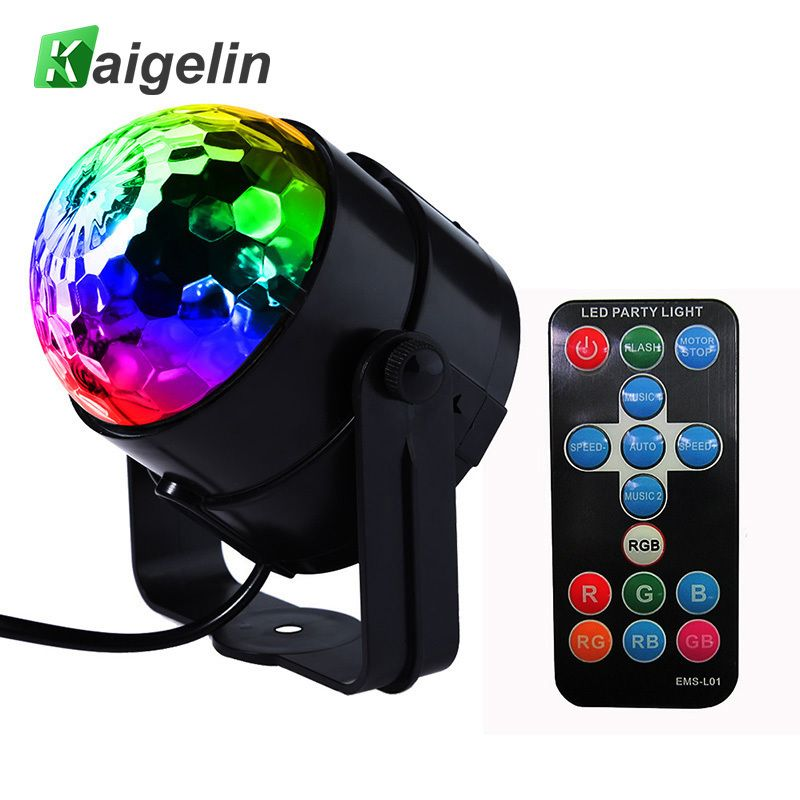 LED Disco Ball Dj Disco Ball Stage Light 3W 220V 7 Colors Sound <font><b>Activated</b></font> Strobe Stage Lighting Chrismas Party Lights Projector