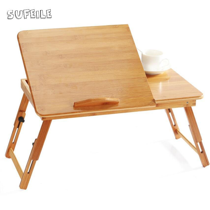 SUFEILE College students learn laptops table Natural Bamboo Laptop Table Desk Adjustable Height Folding Table Computer Desk D5