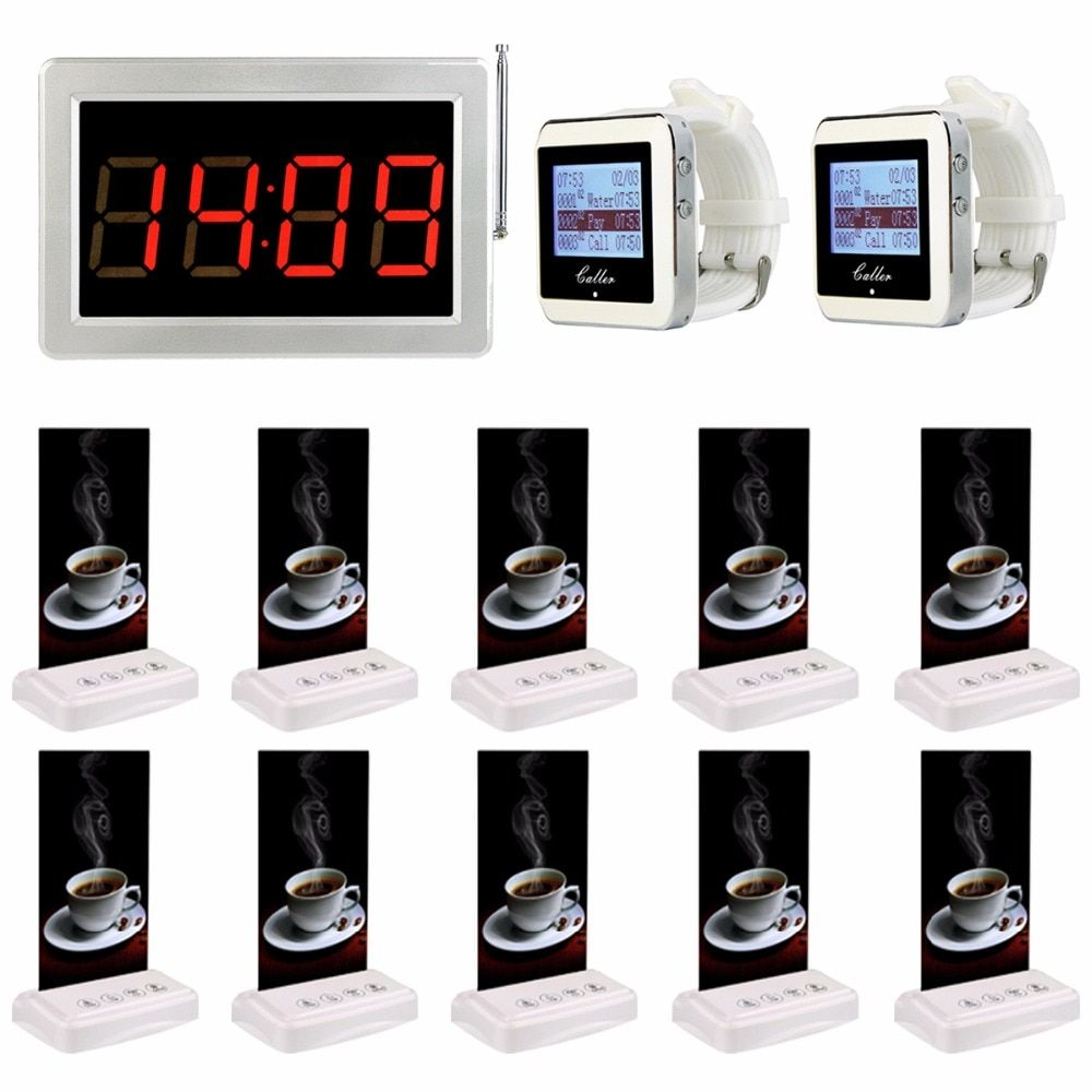 Restaurant Pager Systems Wireless Waiter Paging Calling System Cafe Bar Table Card Call Bell Pagers For Fast Food Court F3355B
