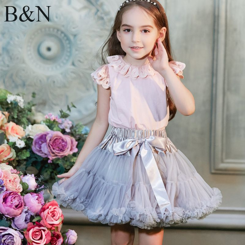Buenos Ninos Girls Fluffy 2-18 <font><b>Years</b></font> Chiffon Pettiskirt Solid Colors tutu skirts girl Dance Skirt Christmas Tulle Petticoat
