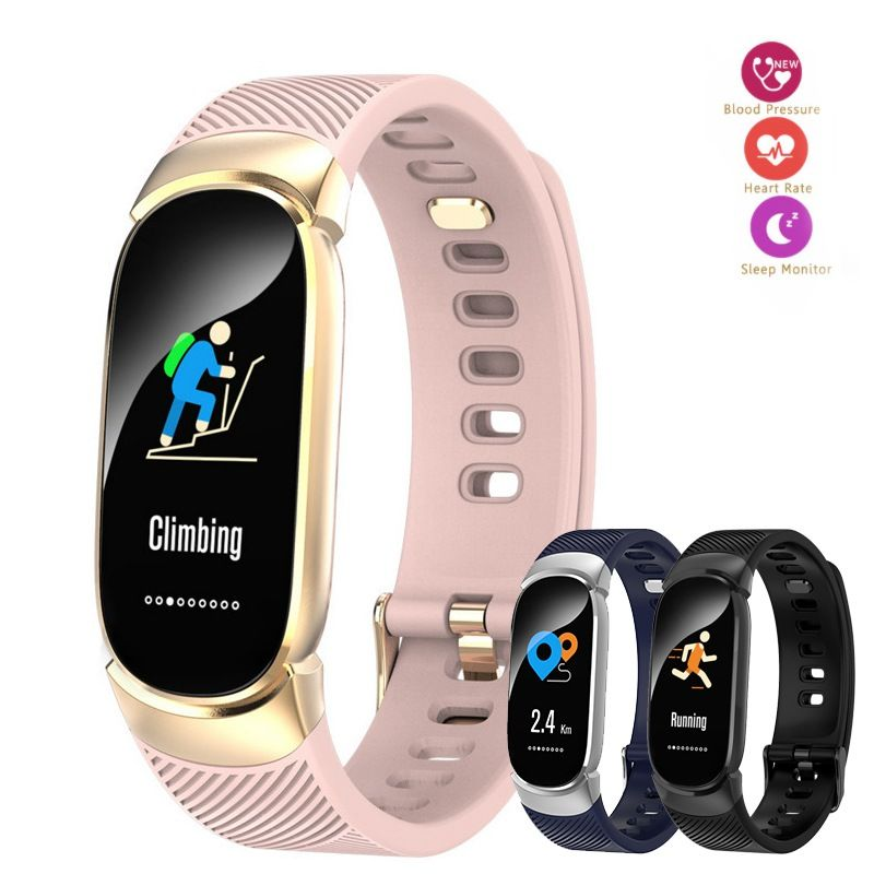 QW16 Female Color Screen Smart Bracelet Fitness Heart Rate Monitor Health Sphygmomanometer Pedometer