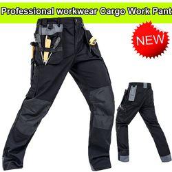 Bauskydd Kualitas Tinggi Polycotton Pria Workwear Wear-Resistance Multi Kantong Kargo Celana Hitam Celana Kerja Pria