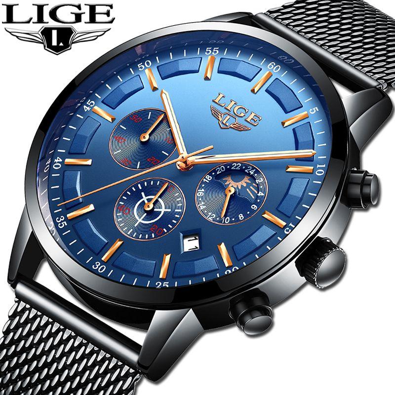 2019 LIGE Mens Watches Top Brand Luxury Casual Quartz Watch Men Fashion Moon Phase Mesh Belt Sports Waterproof Chronograph Clock