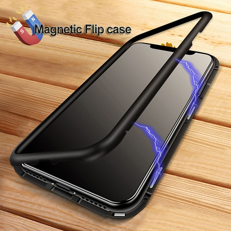 YAGOO Magnetic Adsorption phone case for iphone X 7 plus case <font><b>metal</b></font> frame cover tempered glass for iphone 7 8 plus luxury fundas