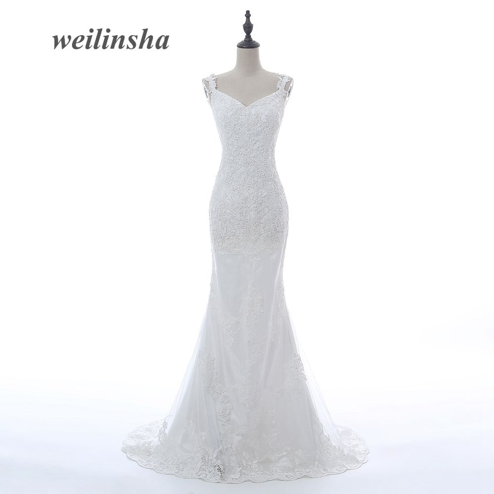 ADLN Sexy Mermaid Wedding Dresses Spaghetti Straps Lace Bridal Gown Custom Size In Stock Backless Wedding Dress