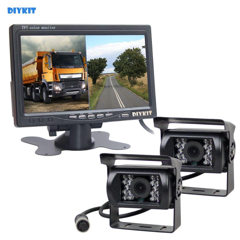 DIYKIT DC12V - 24V 7inch 2 Split LCD Screen Car Monitor HD CCD Rear View Car Camera System for Bus Houseboat Truck