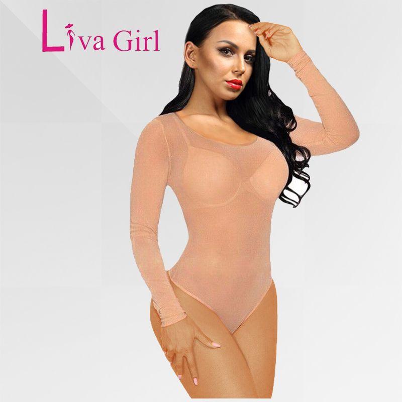 Liva Girl 2019 nu maille Body barboteuses moulante combinaison col roulé Skinny Body Transparent nouveau femmes Sexy Body vêtements
