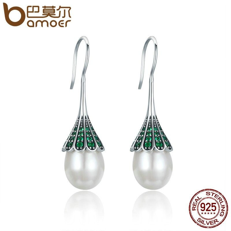 BAMOER High Quality 925 Sterling Silver Elegant Clear CZ Hanging Drop Earrings for Women Sterling Silver Jewelry Brincos SCE204