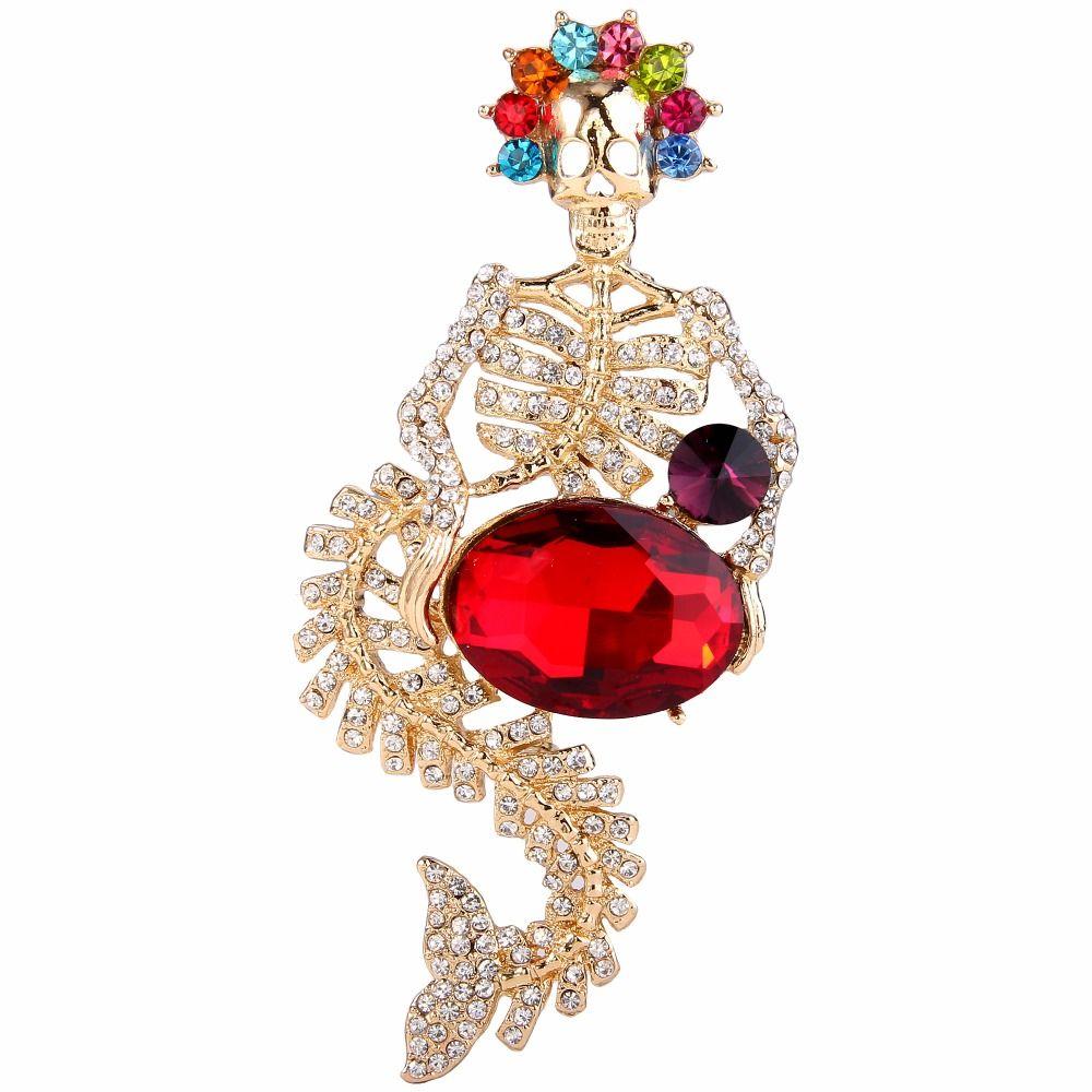 BELLA Fashion Colorful Mermaid Skeleton Brooch Austrian Crystal Rhinestone Bone Brooch Pins For Halloween Party Jewelry