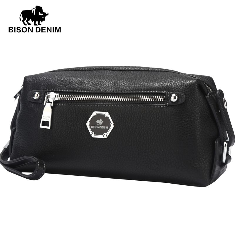 BISON DENIM designer genuine leather guarantee Clutch bag High Quality Classic Business Evening bags men Handbags gift N8063-1B