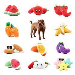 1 pc Fruit Vegetal Brinquedo Guincho Tambor Frango Osso Para O Cão Filhote de Cachorro de Pelúcia Vermelho Pimenta Berinjela Rabanete Soando Pato de Estimação brinquedos