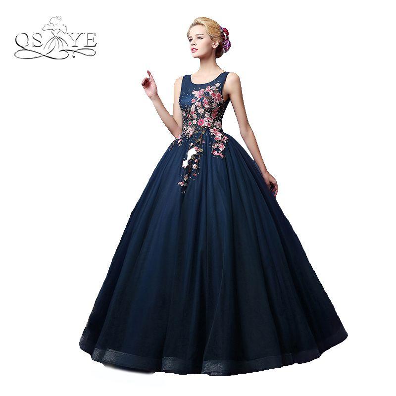 Vintage Ballkleid Dark Navy Arabisch Formale Abendkleid 2017 Robe de Soiree 3D Floral Blume Tüll Lange Abschlussball-kleid-abend-kleid