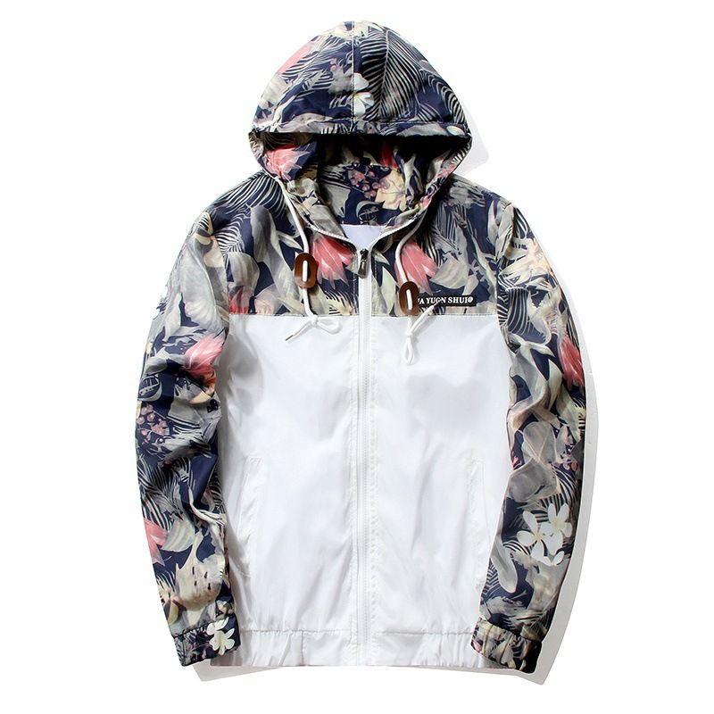Floral Veste 2018 Automne Hommes À Capuche Vestes Slim Fit Manches Longues Homme À La Mode Coupe-Vent Manteau Marque Vêtements Drop Shipping