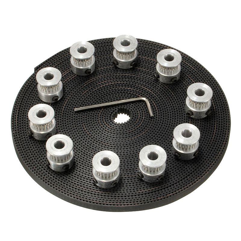 10 stücke 20 Zähne GT2 Zahnriemenscheibe Bohrung 5mm + 10 mt 33ft 2GT GT2 Zahnriemen 6mm breit für 3d-drucker CNC RepRap