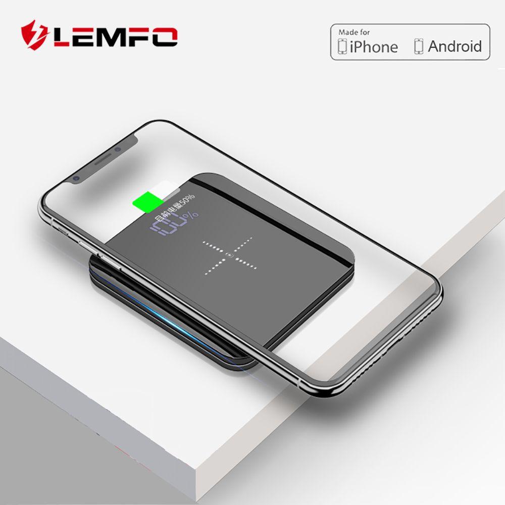 LEMFO mini batterie externe 8000 mah Mince Miroir Écran 2.1A Rapide De Charge 3 dans 1 Haut-Ligne Sans Fil banque d'alimentation de chargeur 8000 Mah