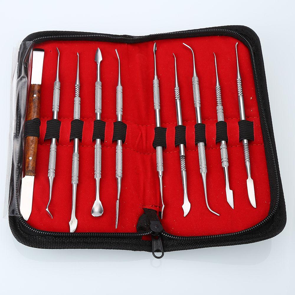 BRAND NEW 10 PCS Cire Sculpture Tool Set En Acier Inoxydable Polyvalent Kit Dentaire Instrument Dentaire Équipement De Laboratoire Avec la Caisse De Support