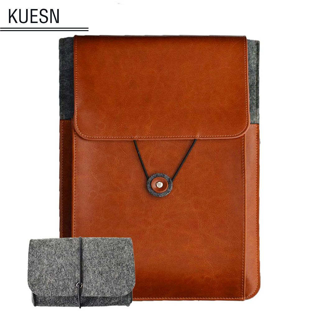Genuine Leather Vintage Envelope Laptop Sleeve 11.6 13.3 15.6 inch for macbook Air macbook Pro cover pouch bag with Charger Case