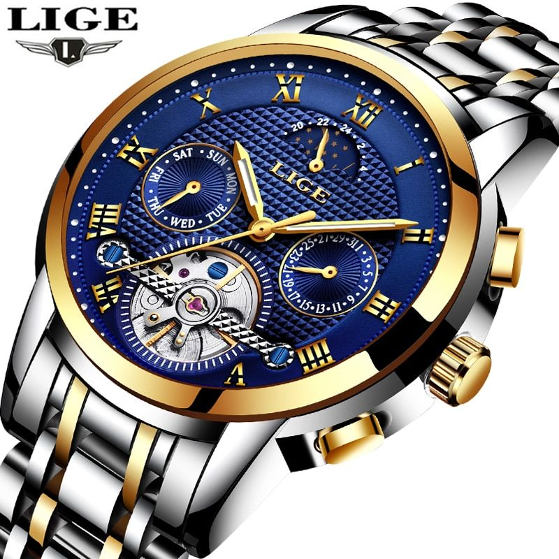 LIGE Mens Watches Top Brand Luxury Automatic Mechanical Watch Men Full Steel Business Waterproof Sport Watches Relogio Masculino