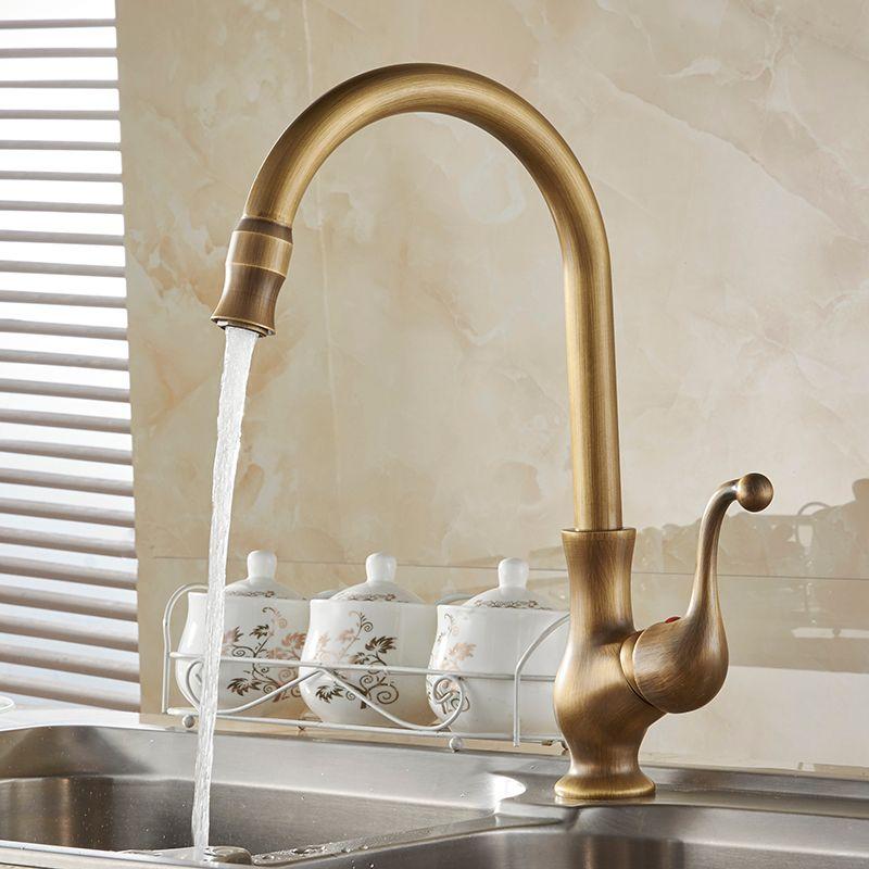 Robinets de cuisine couleur Antique Cozinha robinet en laiton bec pivotant robinet de cuisine mitigeur évier robinet mitigeur HJ-6715F