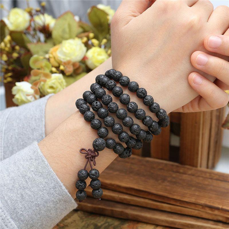 JOVIVI Bracelets de perles chaudes 6mm 8mm pierre de lave naturelle pierre de guérison 108 bouddhiste perles de prière tibétain Mala Bracelet collier