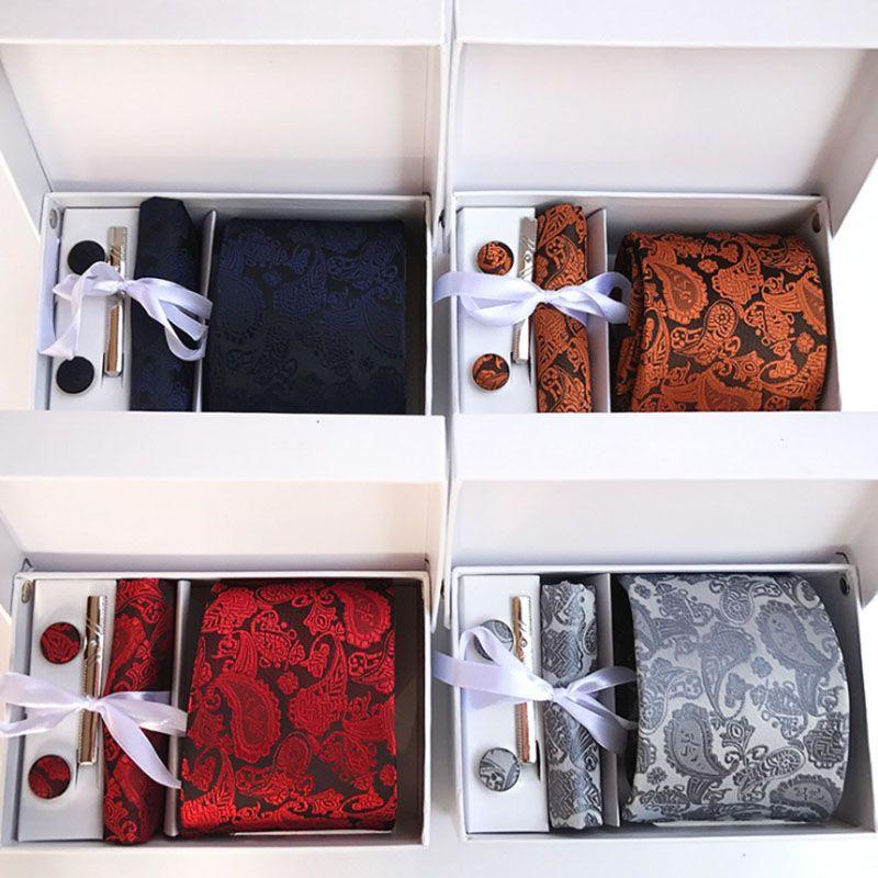 8cm Classic Paisley Floral Man Tie Wedding Party Mens Neckties Gravata Corbatas Handkerchief Pin and Cufflinks Gift Box Packing