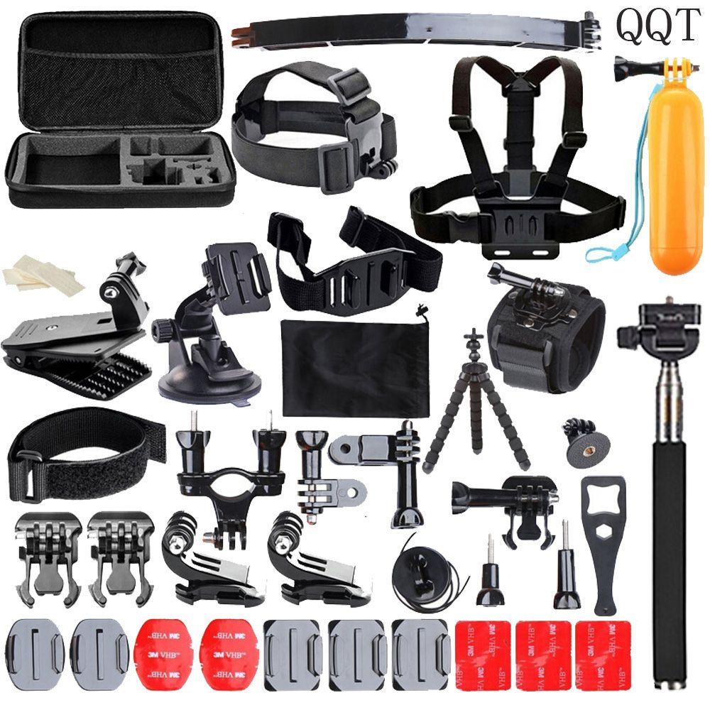 QQT for Gopro accessories set for go pro hero 6 5 4 3 2 mounting kit for SJ4000 Eken / SOOCOO / xiaomi yi 4 k tripod camera