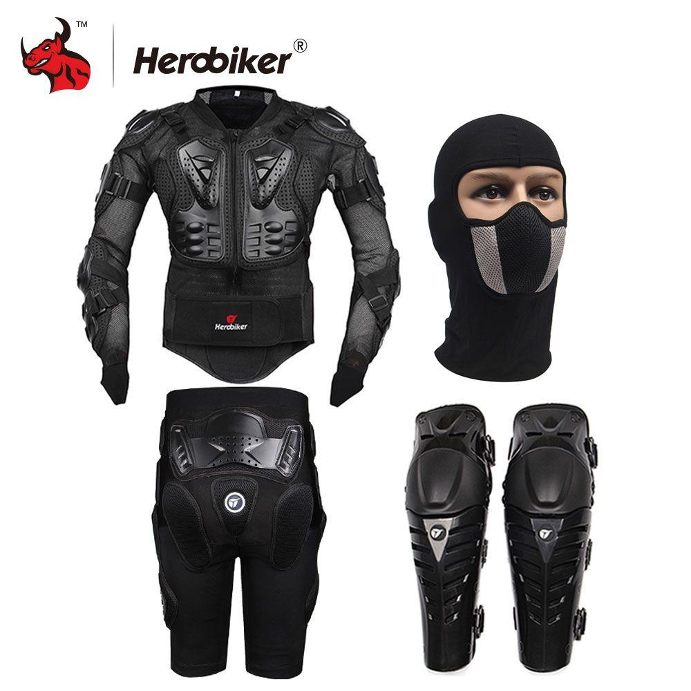 HEROBIKER Motorcycle Body Protection Motocross Racing Full Body Armor+ Gears Short Pants+Motocycle Knee Pad Motorcycle Armor