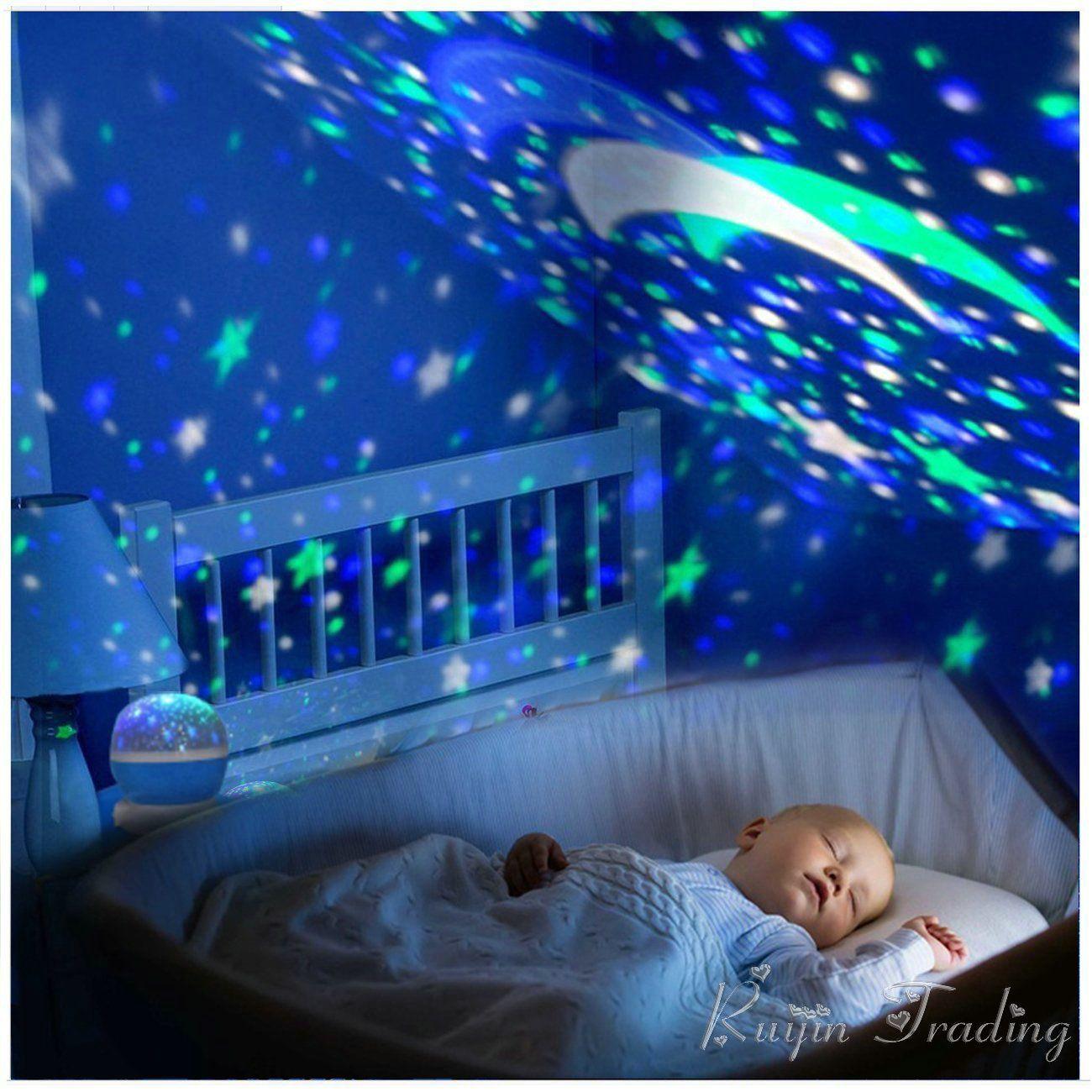 LED Tournant Étoiles Projecteur Nouveauté Éclairage Lune Ciel Rotation Enfants Bébé Pépinière Nuit Batterie Légère Exploité Lampe de Secours