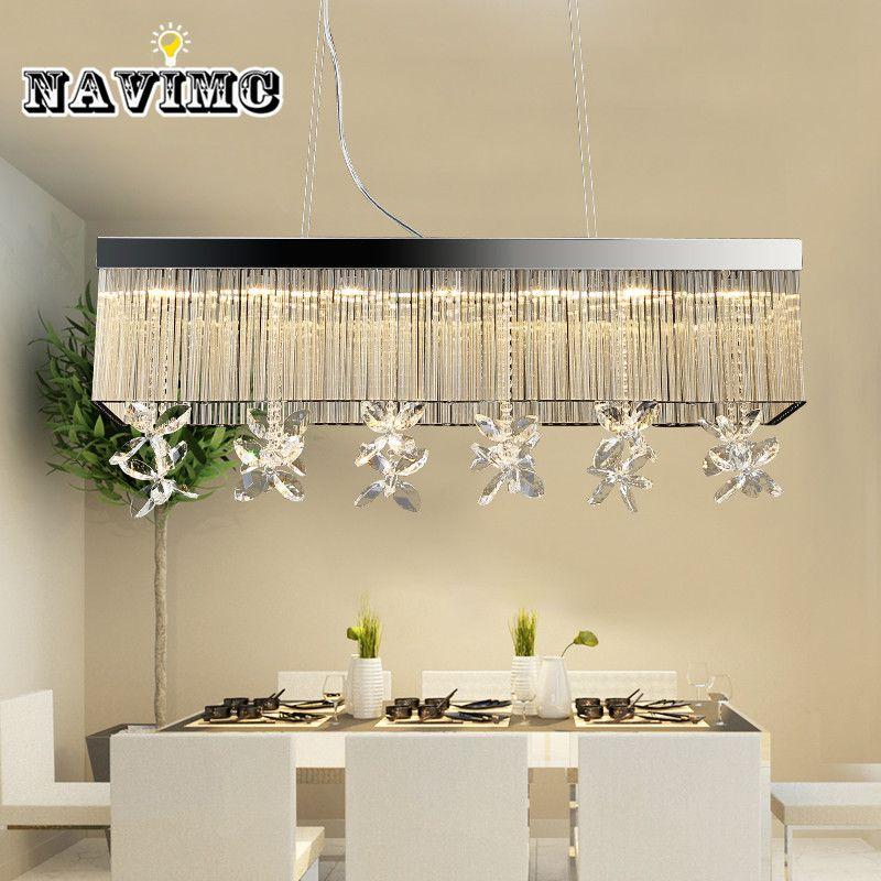 Modern Rectangular k9 Crystal Chandeliers Lighting for Dining Room Bedroom Living Room Pendant Lamp
