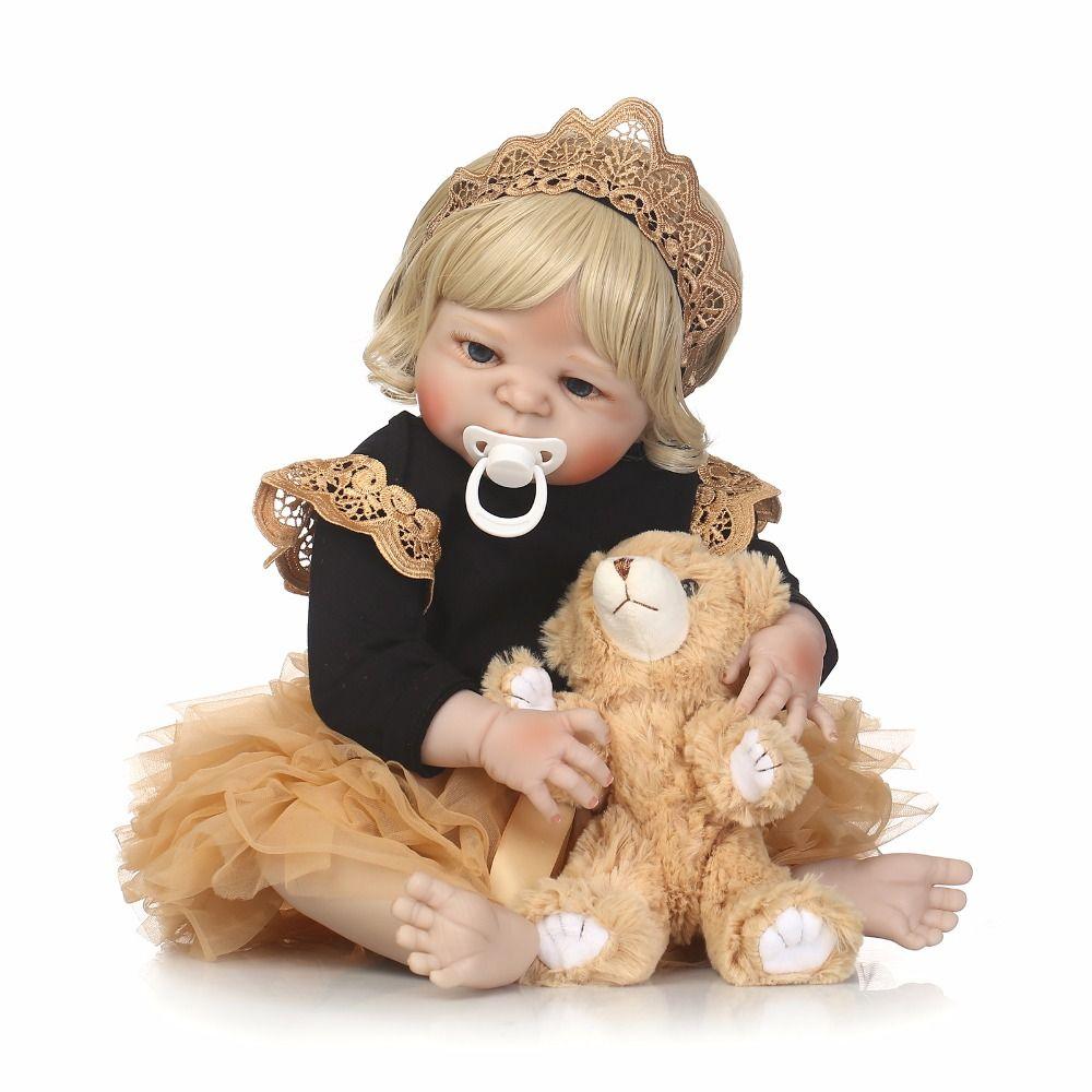 Full silicone reborn girl baby doll toys lifelike 55cm newborn princess toddler babies doll fashion birthday gift Xmas Present
