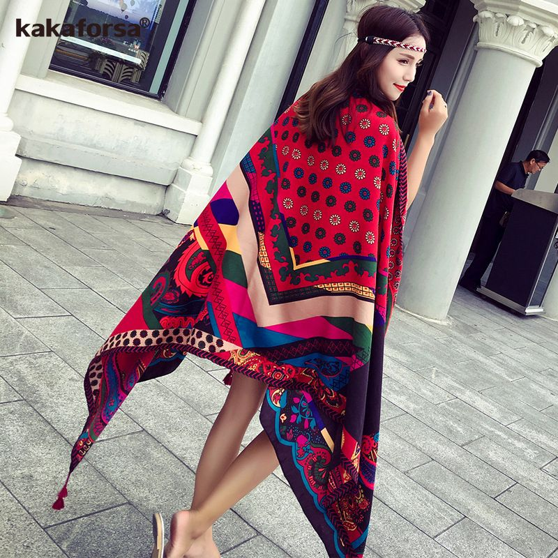 Kakaforsa 2017 New Summer Beach Cover Up Vintage Pareo Rectangle Sarong Wrap Swimwear Bikini Cover Up Autumn Beach Sarong Mats