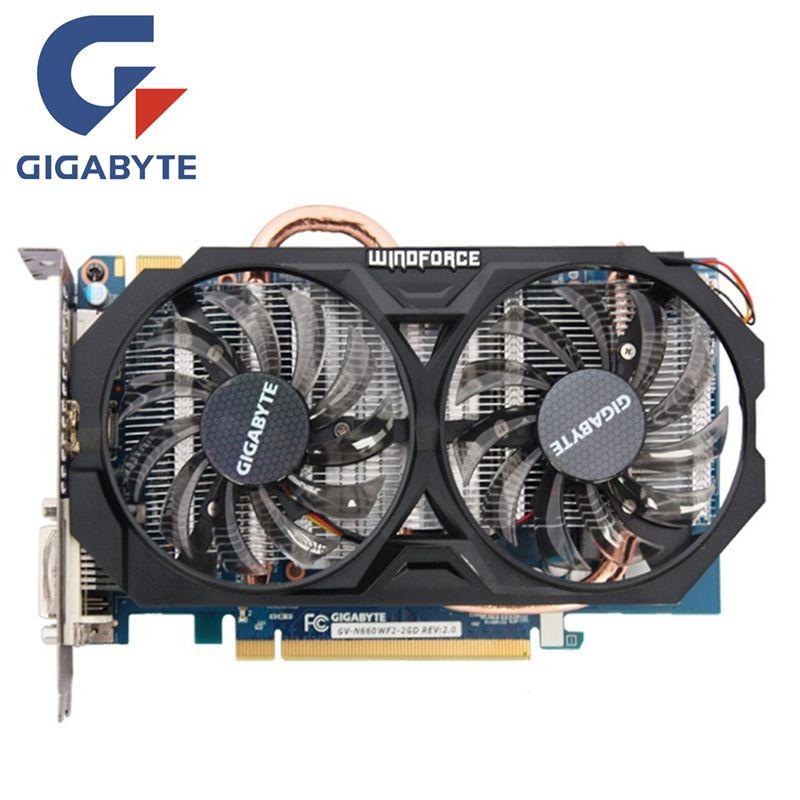 GIGABYTE GV-N660WF2-2GD Video Card 192Bit GDDR5 GTX 660 N660 Rev.2.0 Graphics Cards for nVIDIA Geforce GTX 660 Hdmi Dvi Cards