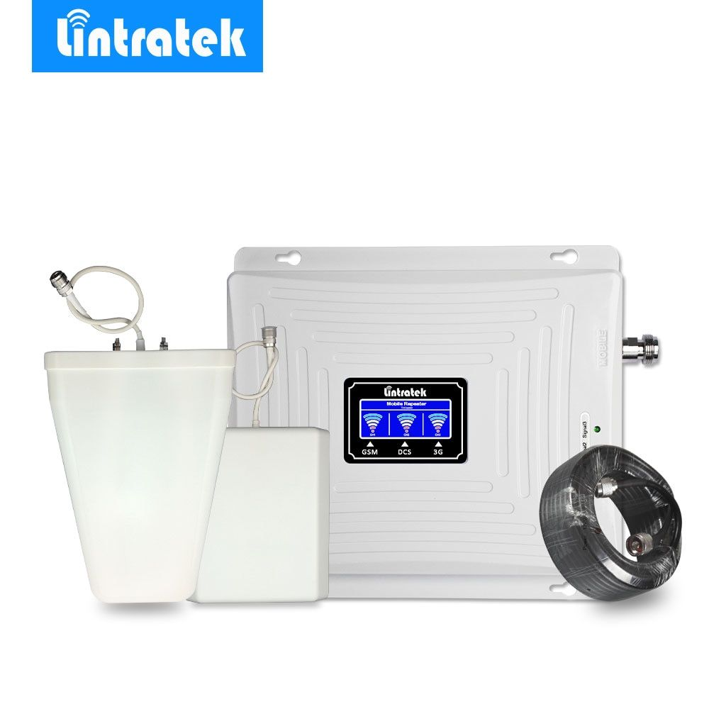 Lintratek Signal Booster Repeater Amplifier 2G 3G 4G Tri Band GSM 900MHz 3G UMTS 2100MHz 4G LTE 1800MHz 65dBi Full Kit Antenna @